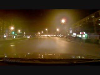 Момент ДТП перед мостом по ул. Профсоюзной