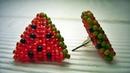 KOLCZYKI ARBUZY formy przestrzenne ściegiem peyote trójkąty ★ TUTORIAL BEADING ★