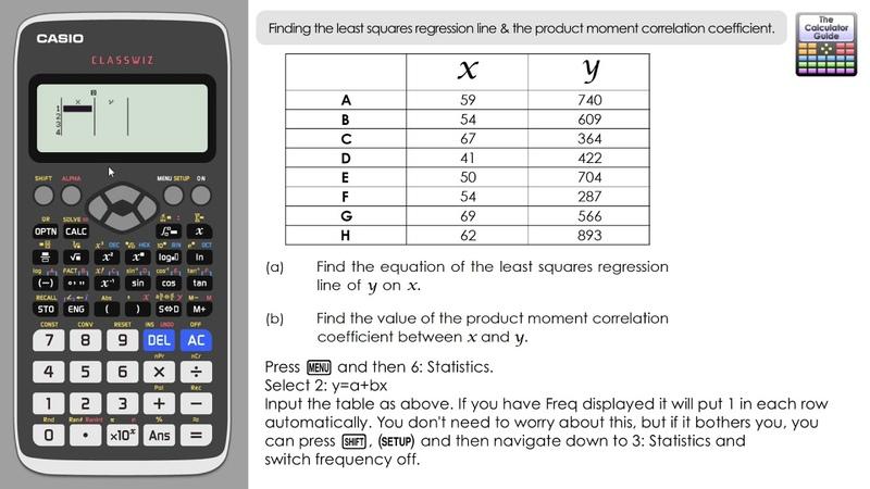 Regression Line Correlation Coefficient on Casio Classwiz Least Squares on fx 991EX fx 570EX