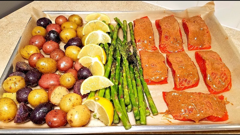 Easy Salmon Sheet Pan Meal Prep | One Pan Salmon and Veggie Dinner | Roasted Salmon Recipe