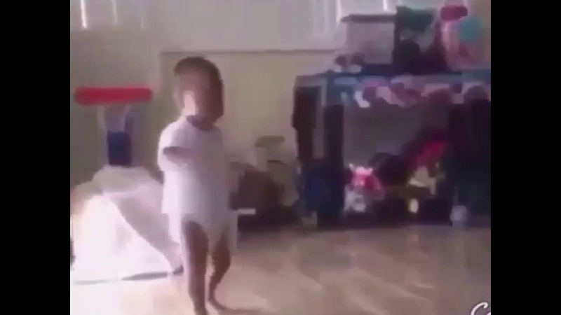 Baby lifts weight vine