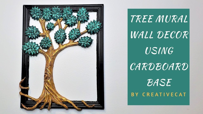 Wall Decor Tree Mural using Cardboard Base Best out of Waste