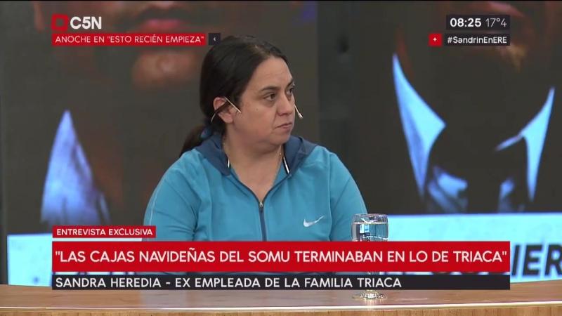 Las cajas navideñas del SOMU terminaban en lo de Triaca, contó Sandra Heredia, la ex empleada de la familia del ministro de tr