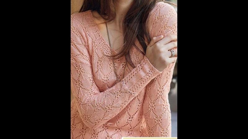 Ажурный узор спицами для пуловера. в копилку мастерицам. Вяжем по схеме.