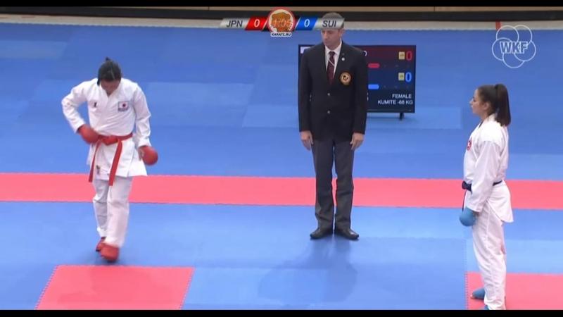 Бронзовый финал женского кумитэ до 68 кг: Кайо Сомея (Япония) - Елена Куирици (Швейцария)