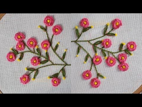 Hand embroidery cast on stitch hand work design