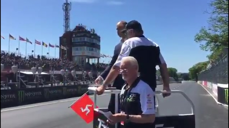 And they're off! - - The Duke flags off the TT Zero race @iom_tt, which sees teams compete on electric motorcycles without the u
