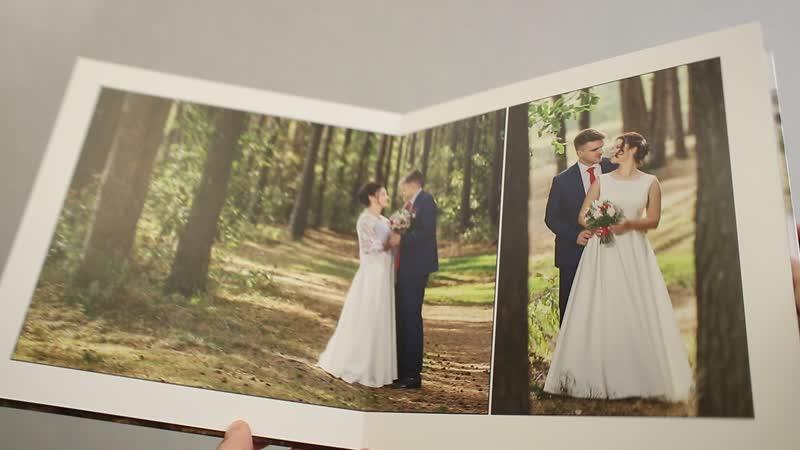 Свадебная книга в твёрдой обложке 52х26 см.Простое решение