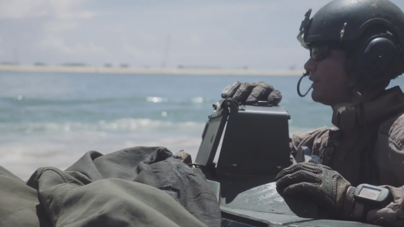 Marines conduct water operations in their Assault Amphibious Vehicle on Camp Pendleton, California, June 29, 2018.