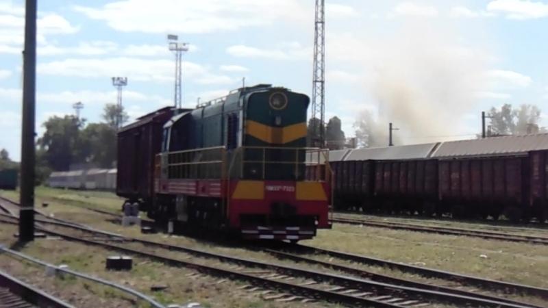Тепловоз ЧМЭ3Т-73213 с грузовым вагоном на станции Харьков-Балашовский