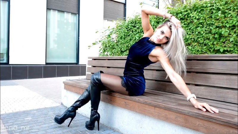 Mini Dress Pantyhose in overknee boots and mini skirt platform high heels