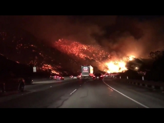 Raw video- skirball fire stuns i-405 drivers in la