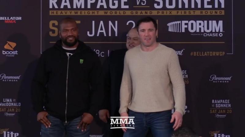 [MMAFightingonSBN] Bellator 192: Rampage Jackson vs. Chael Sonnen Staredown - MMA Fighting