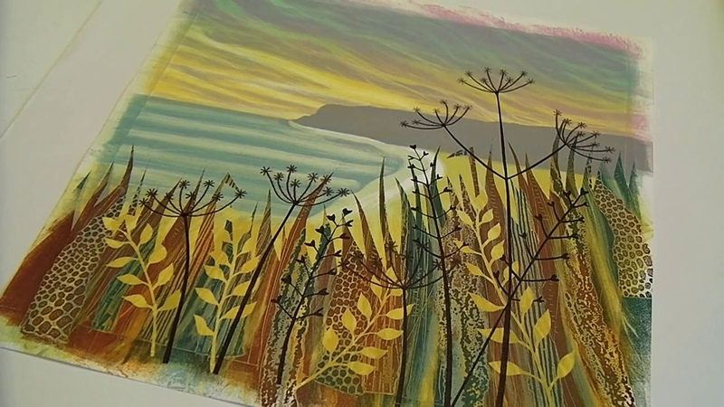 Rebecca Vincent printing monotypes Part 9 Creating seedheads