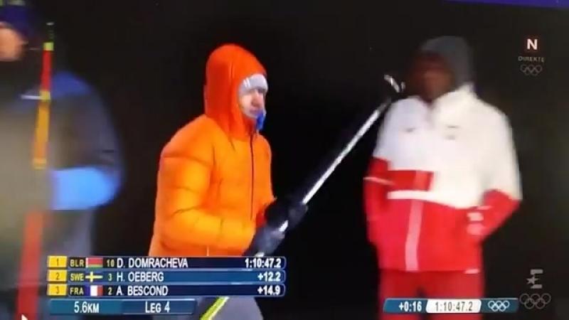 180222 Женская эстафета в Пхёнчхане. Биатлон. Олимпийская чемпионка Даша Домрачева и король биатлона Уле Бьёрндален