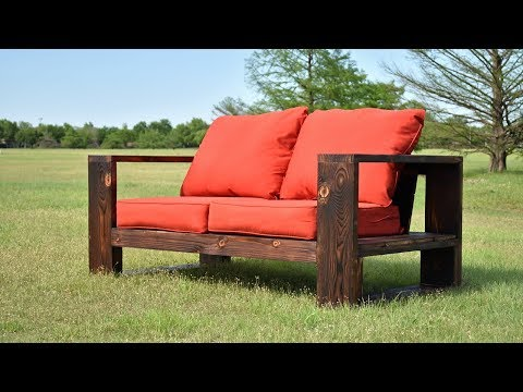 DIY Modern Outdoor Sofa Shou Sugi Ban Limited Tools Free Plans YouTube