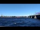 У Троицкого моста 20.06.2018. Западный ветер и волны против течения Невы.
