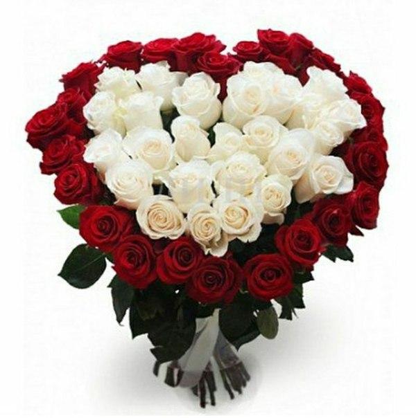 Букет из 51 роз с сердцем