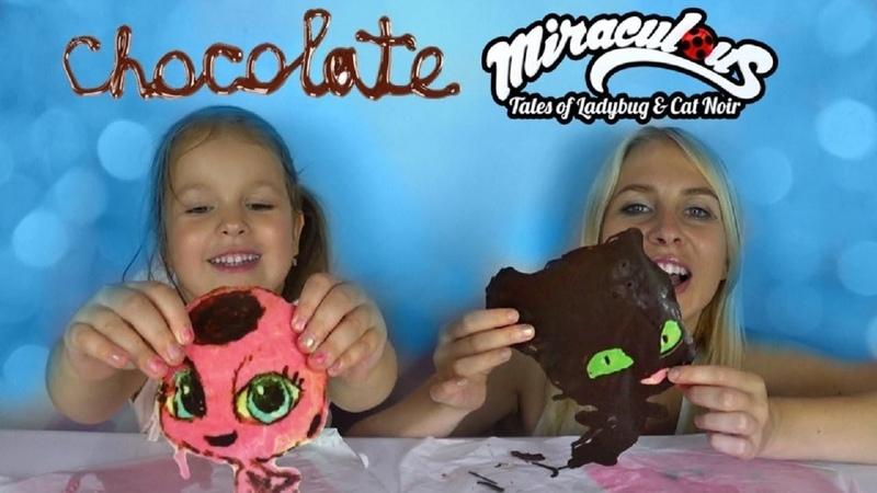 DIY Chocolate Miraculous Ladybug Cat Noir Tikki and Plag Шоколадные Тикки и Флаг