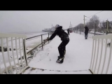 Urban snowboarding in Essex during snow storm with Billy Morgan and Paddy Graham.