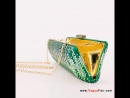 Vogue Fair New Elongated Allover Gradient Green Rhinestones Party Clutch Shimmering Dress Purse