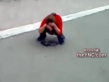 Drunk Russian Girl Pisses in the Street at the Train Station
