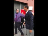 Liverpool fans asking Rio Ferdinand for selfies and autographs as he arrives at Anfield this evening. mufc