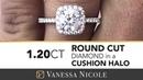 ROUND DIAMOND CUSHION HALO SETTING | 1.20 Carat Round Diamond Halo Ring for Tamara