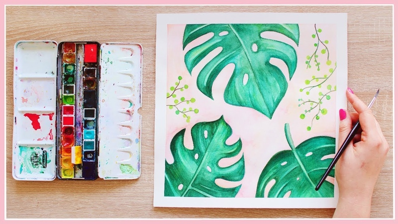 How to Paint Monstera Leaves with Watercolors for Beginners   Art Journal Thursday Ep. 33