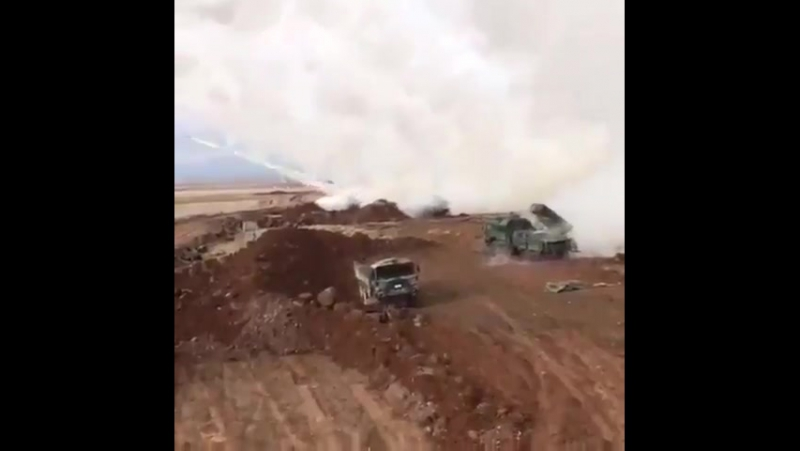 Сирия 20-01-2018.Турецкие РСЗО T-122 Sakarya работают по позициям курдов YPG в районе Африна