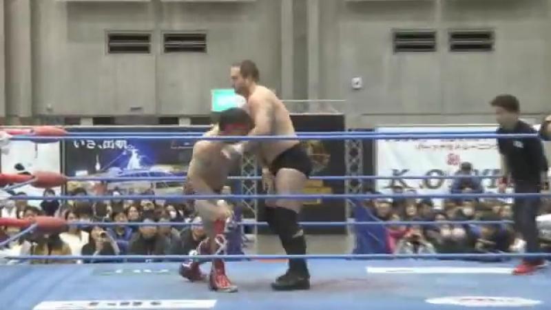 Hikaru Sato, Joe Doering vs. Koji Iwamoto, Ryouji Sai (AJPW - New Year Wars 2018 - Day 5)