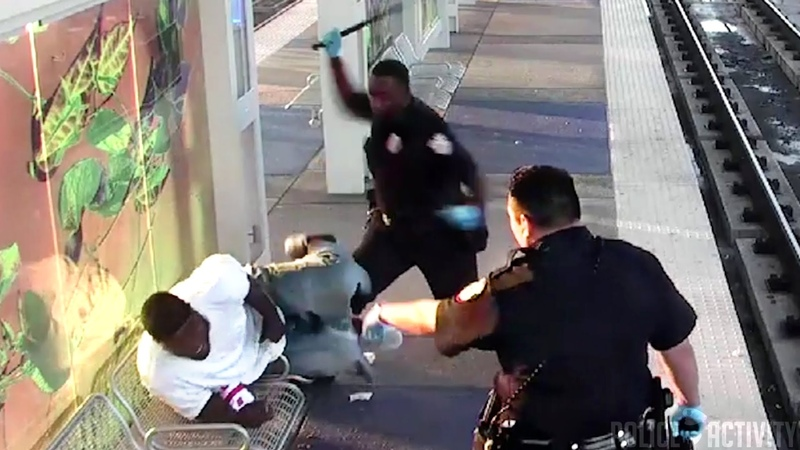 Raw Surveillance Footage Shows Cop Beating Man With Baton