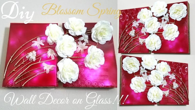 Diy Blossom Spring on Glass Wall Decor | Simple and Inexpensive Wall Decorating Idea