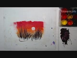 Как нарисовать тонкие травинки гуашью