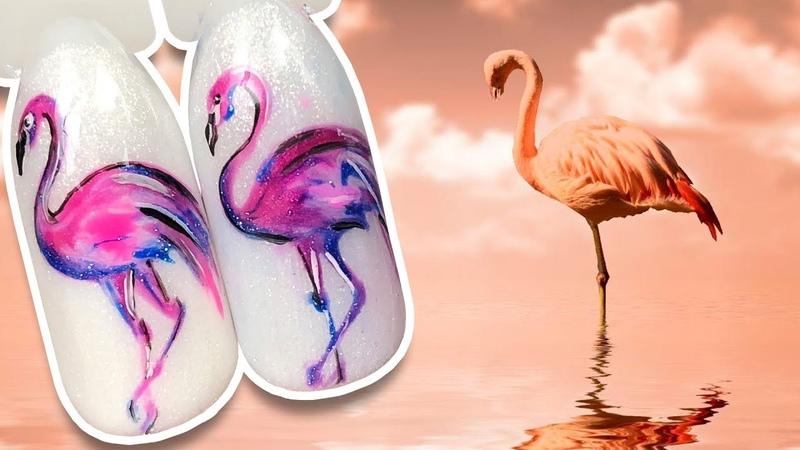 🐦 Розовый Фламинго 🐦 Летний Дизайн Ногтей гель лаком к Яркому Маникюру Простой дизайн Пошаговый