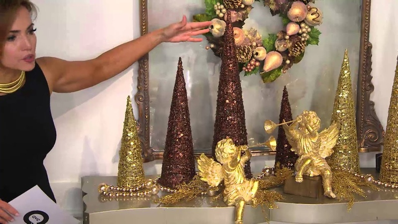 Set of 3 Illuminated Glitter Sequin Trees with Timers with Lisa Robertson