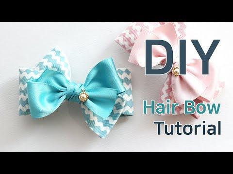 DIY/How to make a hair bow/hair accessories/hair ribbon bow tutorial/(HP841)물결리본핀/리본핀만들기