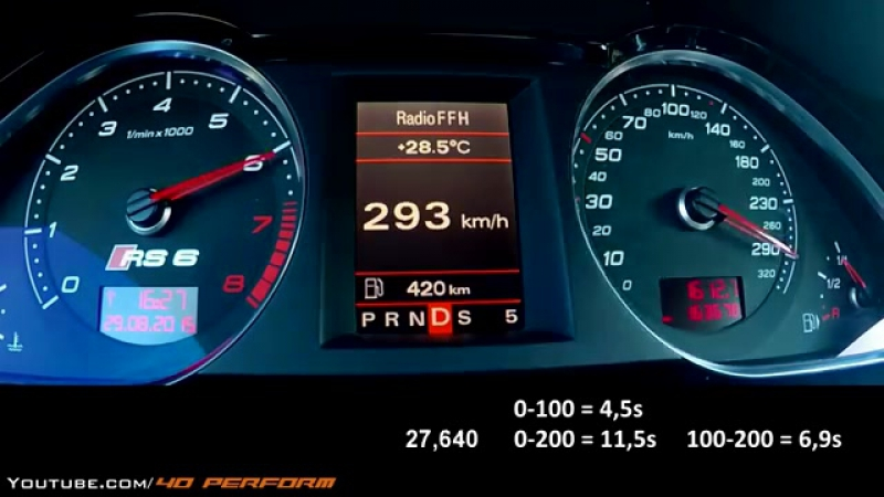 Audi RS6 R - 0-348 Kmh Sound, Acceleration, Onboard Autobahn, Topspeed