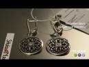 Восточные серьги из серебра с эмалью и бесцветным фианитом