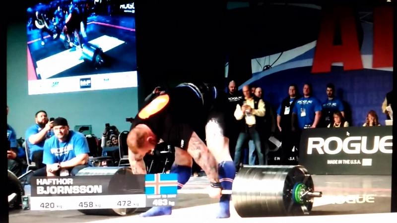 Хафтор Бьёрнсон @thorbjornsson  New World record Deadlift (Rouge Elephant Bar) 472 kg  aroldstrongmanclassicnews  moscowstrong