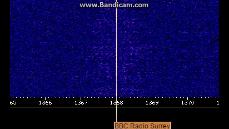 The BBC Surrey AM band closedown message on 1368 KHz during the medium wave transmitter switch-off operations