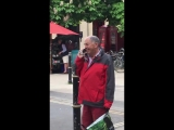 Older lad talks on 80s mobile phone