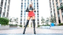 Blonde in boots Mini Dress, in super high heels and Leather Jacket