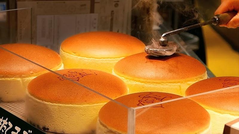Japanese Street Food JIGGLY CHEESECAKE Uncle Rikuro's Cheese Cake Osaka Japan