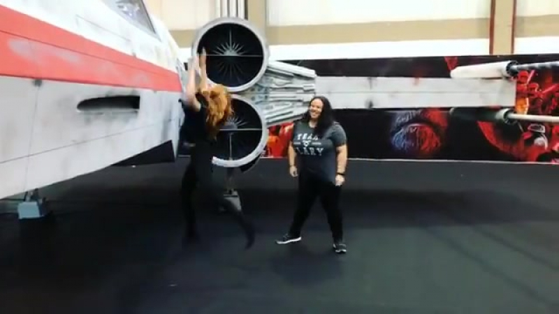 Katherine on Instagram Tried to test drive an X Wing @Comic Con PT I'm a rebel like that 😉🧡 CCPT17 @ohsnapitsmilly @sta