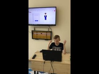 Матвей, 9 лет, Вологда. Анзан (случайные числа), 5 примеров на 1 сек.