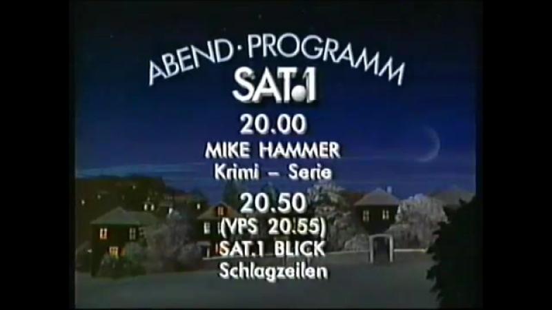 Программа передач и конец эфира (Sat.1 [Германия], декабрь 1989)