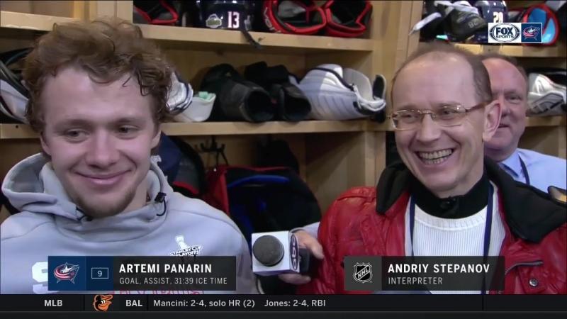 Интервью Артемия Панарина после матча с Вашингтоном 18.04.2018