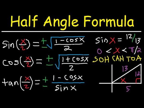 Half Angle Identities - Formula - Cos, Sin, Tan - Trigonometry