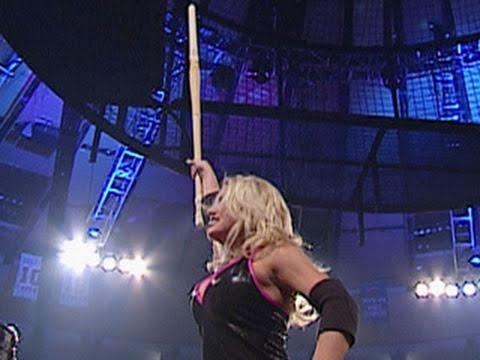 Trish Stratus competes in a Hardcore Championship Match
